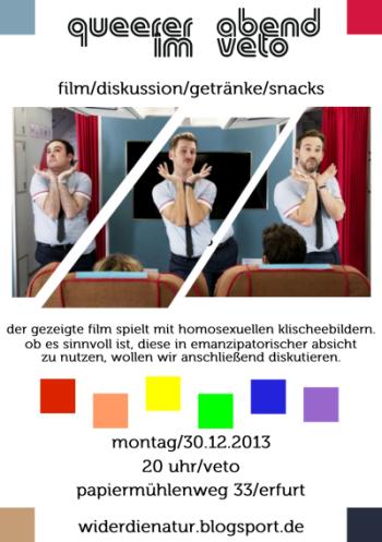 der gezeigte film spielt mit homosexuellen klischee-bildern. ob es sinnvoll ist, diese in emanzipatorischer absicht zu nutzen, wollen wir anschließend diskutieren.