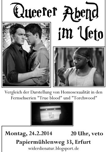 Beginn 20 Uhr. Vergleich der Darstellung von Homosexualität in den Fernsehserien true blood und torchwood.
