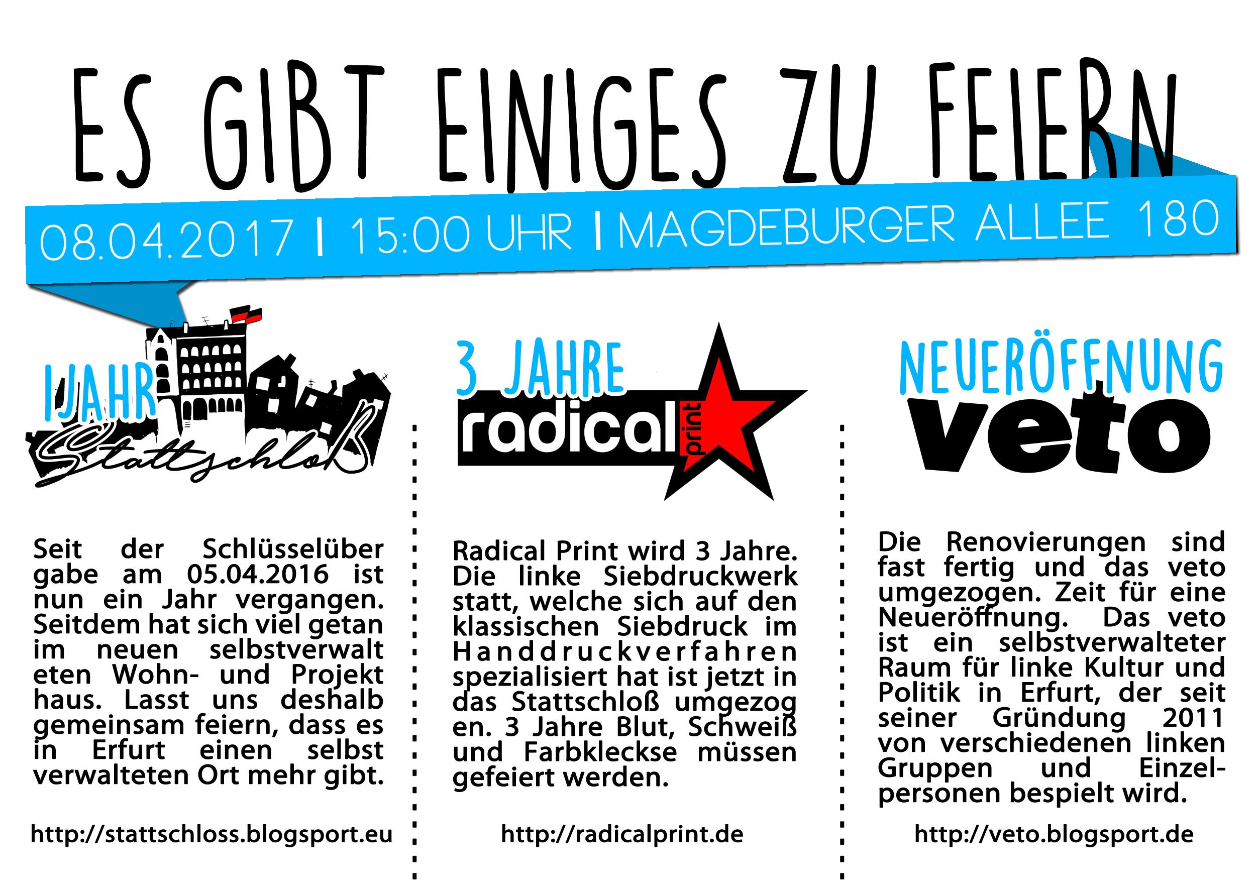 Hausfest Stattschloss Veto Radical Print Second Bandshirt Thüringenpunk