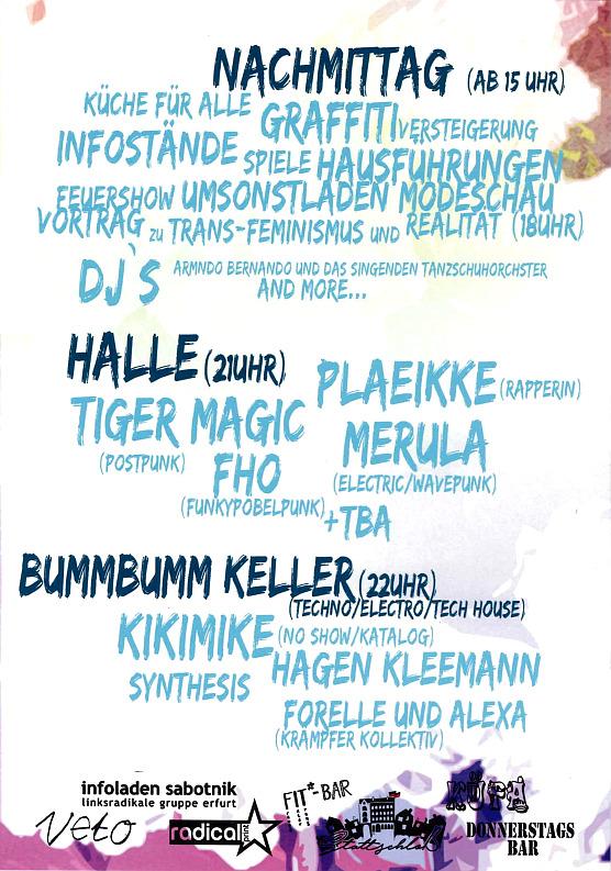 5.5. flyer veto geburtstag tiger magic, fho, merula, kikimike, synthesis, hagen kleemann, forelle und alexa