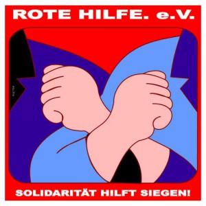 rote hilfe logo mit dem spruch solidarität hilft siegen