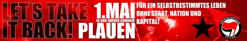 banner der mobiseite, antifa-symbol, pyros, text: für ein selbstbestimmtes leben ohne nation, staat und kapital!